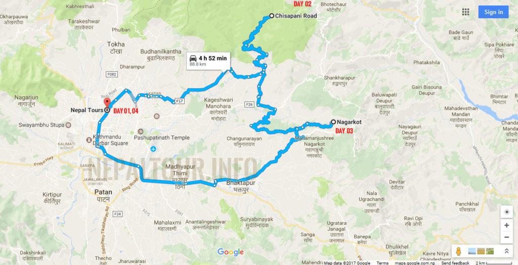 Kathmandu Chisapani Nagarkot Map